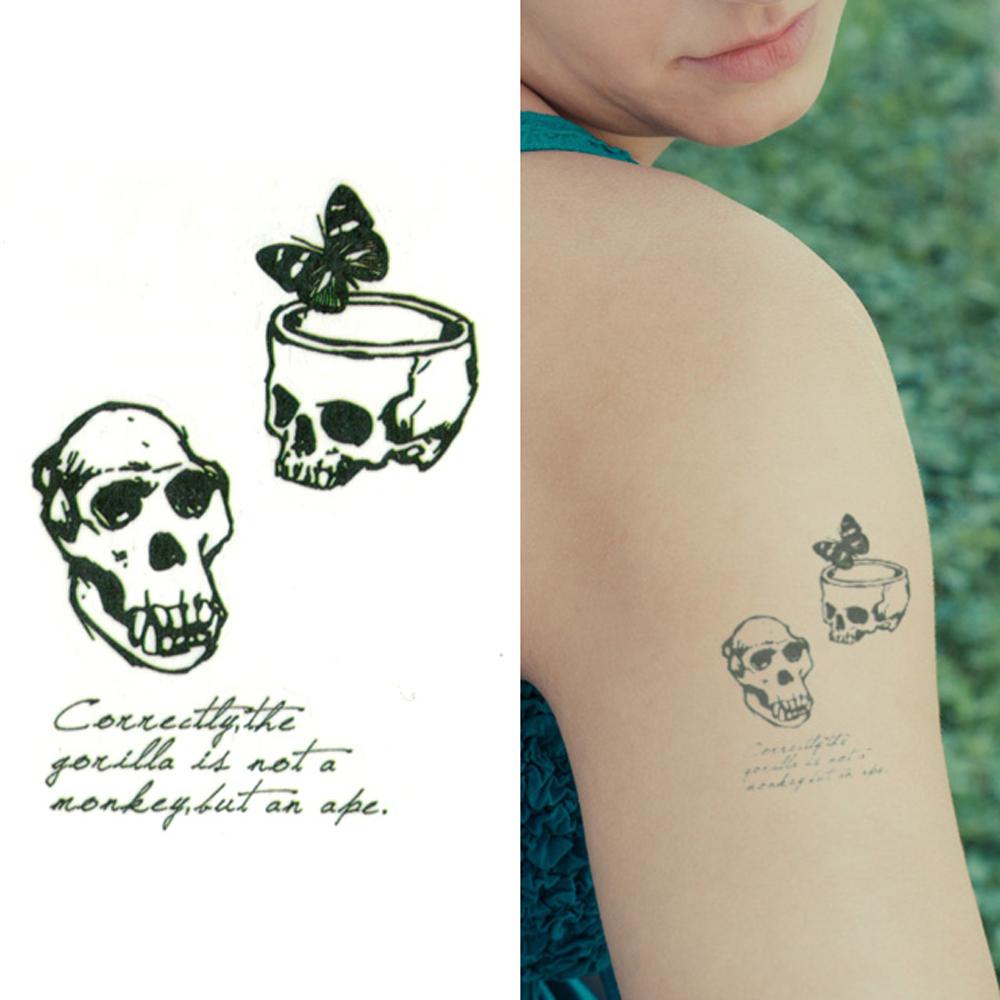 タトゥーシール 2枚セット ペアスカル【タトゥーシール/TATTOO/ボディシール/刺青シール/ステッカー】