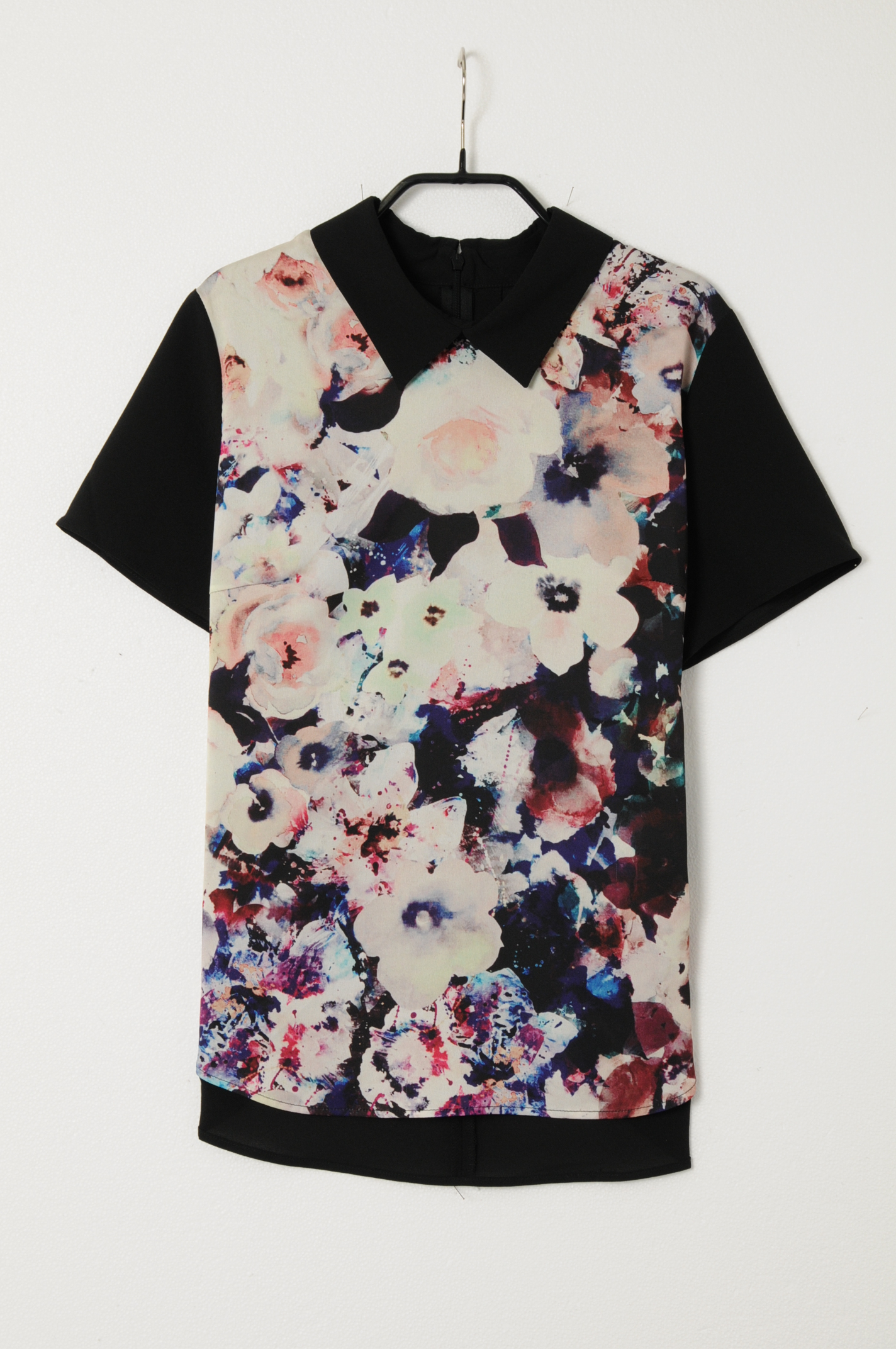 バイカラーフラワー衿シャツ