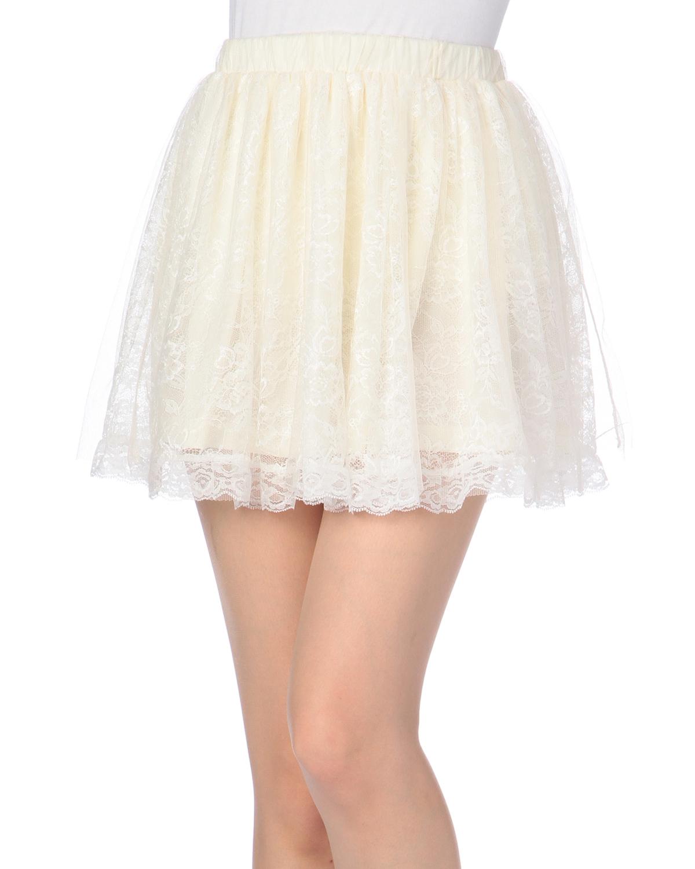 スカート通販〜LIZ LISAブランドの【LIZ LISA doll】フラワーレースフレアスカート