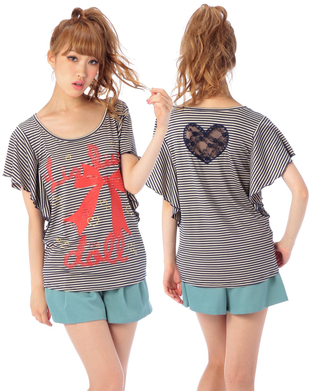 シャツ通販〜LIZ LISAブランドの【LIZ LISA doll】ボーダーフリルTシャツ