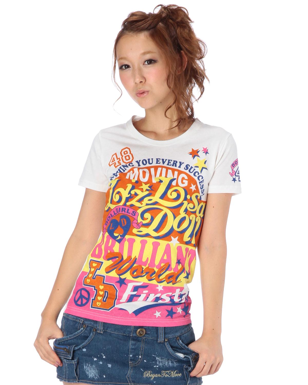 シャツ通販〜LIZ LISAブランドの【LIZ LISA doll】配色ボーダーロゴTシャツ