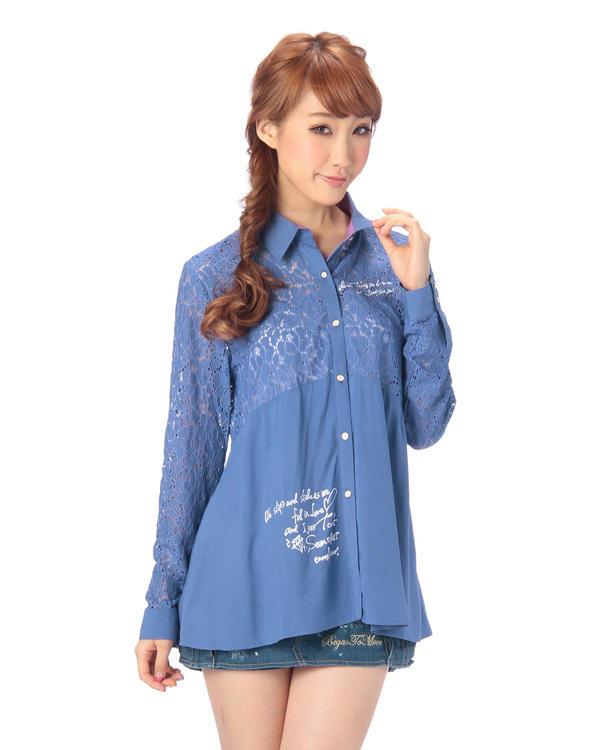 シャツ通販〜LIZ LISAブランドの【LIZ LISA doll】レース切り替えロゴ入りシャツ