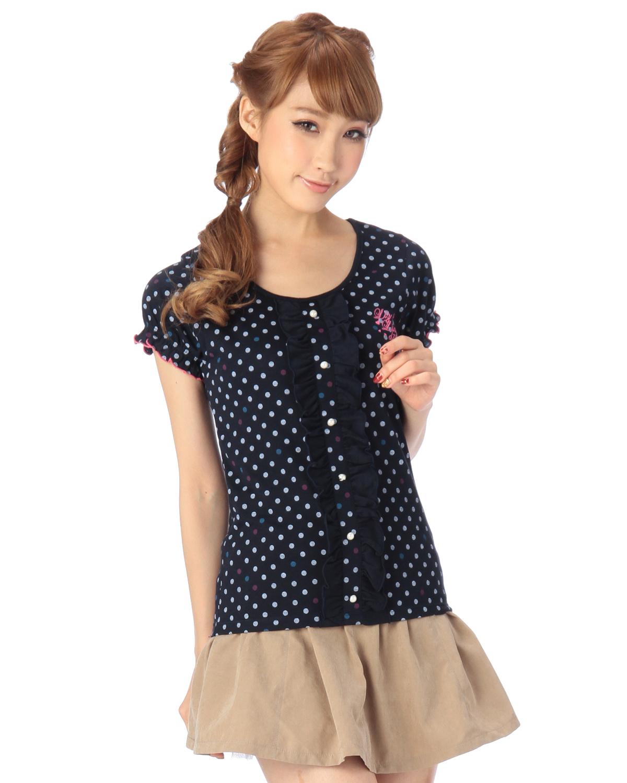 シャツ通販〜LIZ LISAブランドの【LIZ LISA doll】パフスリーブドットTシャツ