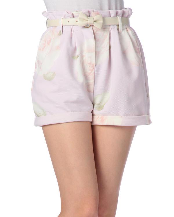 パンツ通販〜LIZ LISAブランドの【LIZ LISA】リボンベルト付き大花ショートパンツ