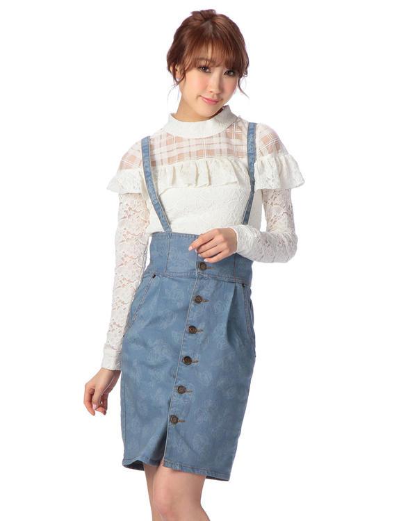 人気アイテム 通販〜LIZ LISAブランドの【LIZ LISA】抜染バラ柄サス付きタイトスカート