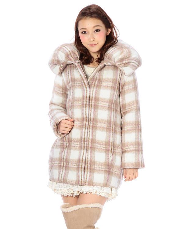 アウター通販〜LIZ LISAブランドの【LIZ LISA】シャギーチェックビッグ衿コート