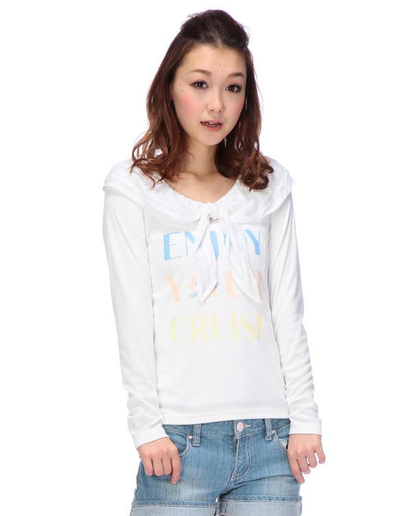 シャツ通販〜LIZ LISAブランドの【Tralala】衿リボンロゴプリントカットソー