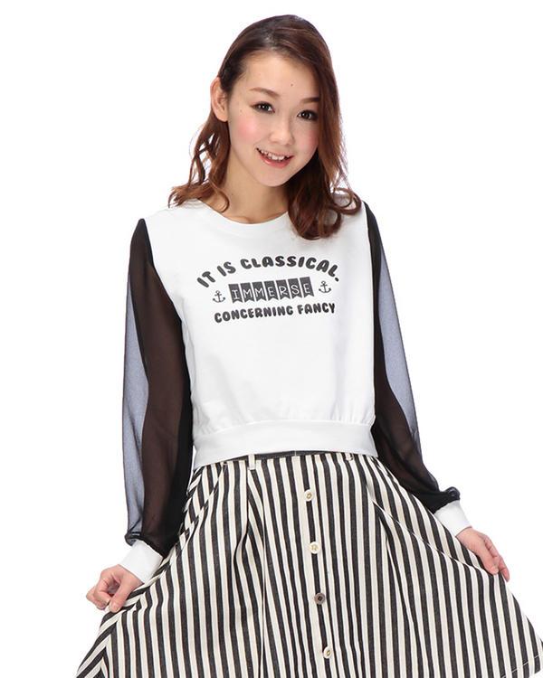 シャツ通販〜LIZ LISAブランドの【Tralala】シアースリーブ切替プルオーバー
