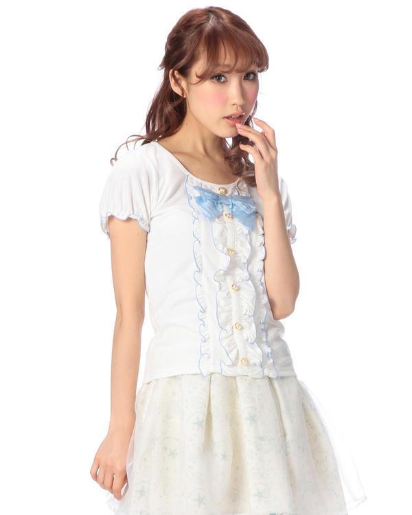 シャツ通販〜LIZ LISAブランドの【Penderie】フロントリボンパフスリーブカットソー