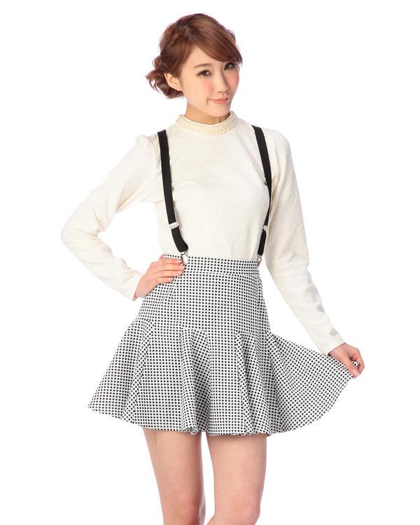スカート通販〜LIZ LISAブランドの【Tralala】ギンガムチェック柄サス付きサーキュラースカート