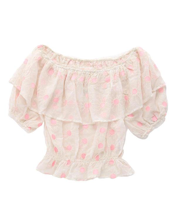 シャツ通販〜LIZ LISAブランドの【LIZ LISA】花刺繍ショートブラウジング