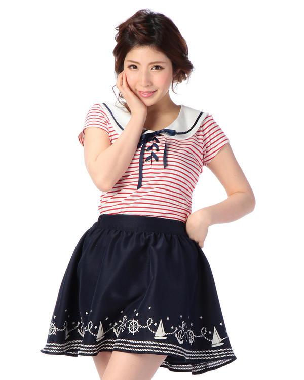 シャツ通販〜LIZ LISAブランドの【Tralala】ボーダーセーラートップス