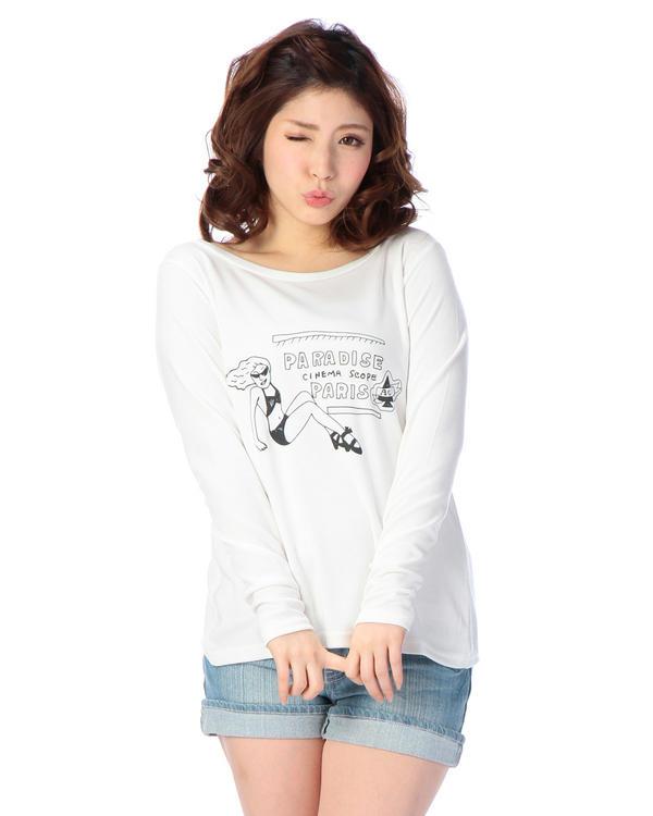 シャツ通販〜LIZ LISAブランドの【Tralala】手描き風PARISプリントカットソー