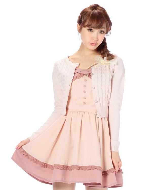 ニット通販〜LIZ LISAブランドの【Tralala】衿ぐりリボンカーデ
