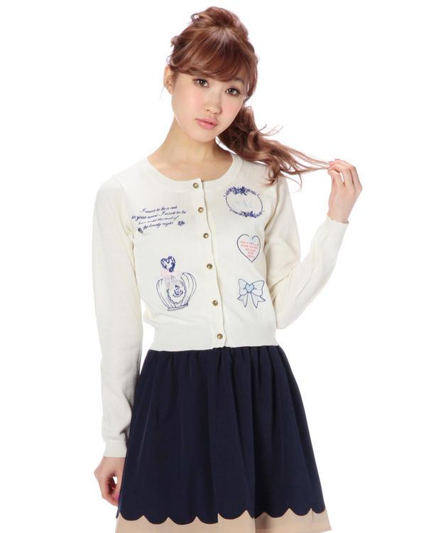 ニット通販〜LIZ LISAブランドの【Tralala】ガーリー刺繍カーデ