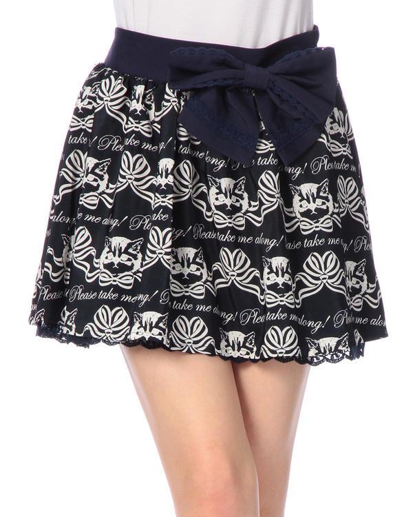 スカート通販〜LIZ LISAブランドの【Tralala】リボン付きネコプリントスカート