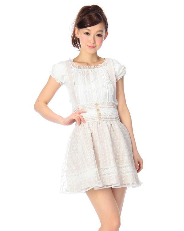 【LIZ LISA 】チェック×オーガンジーサス付きスカート