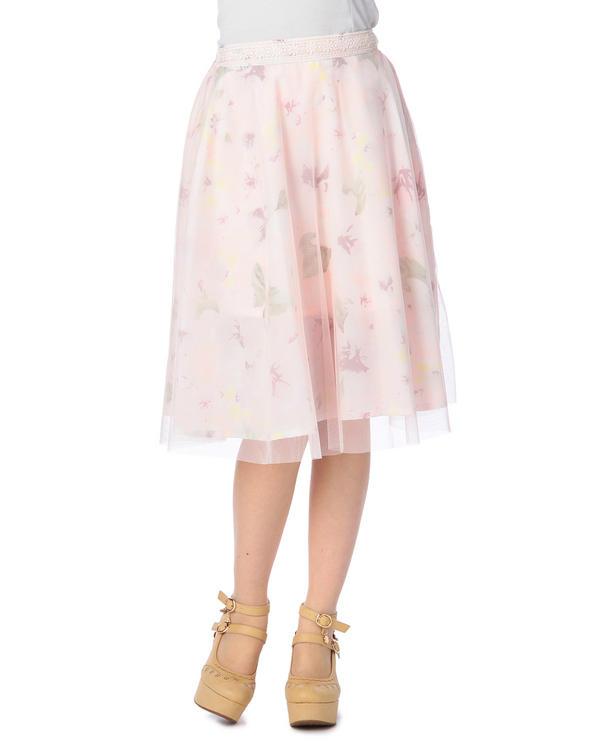 【LIZ LISA 】花柄シボひざ丈スカート
