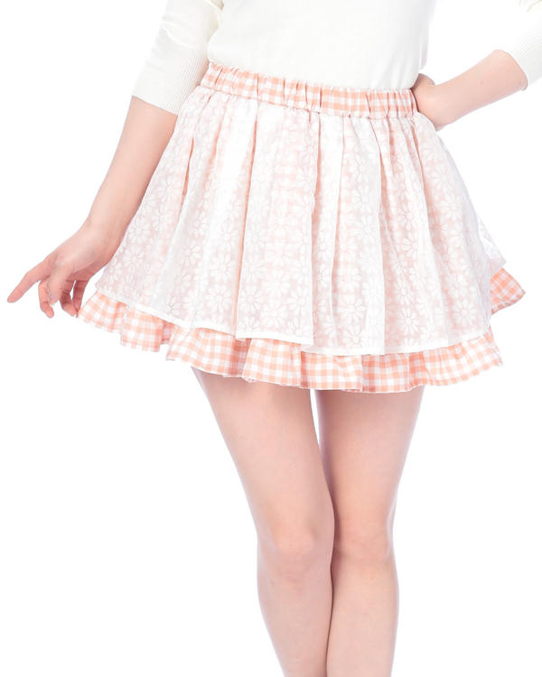 スカート通販〜LIZ LISAブランドの【Tralala】ギンガムチェック×フラワープリントスカート