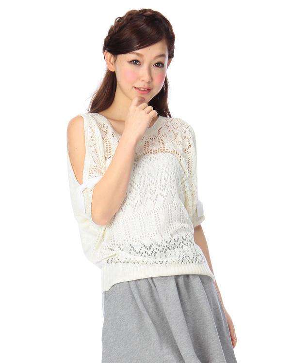 ニット通販〜LIZ LISAブランドの【Tralala】透かし編みプルオーバー