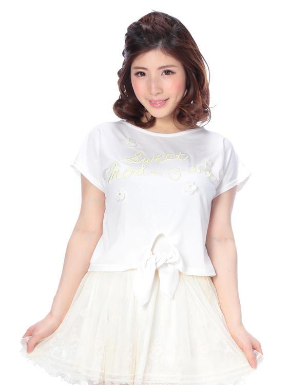 シャツ通販〜LIZ LISAブランドの【LIZ LISA】3Dフラワー×バックレース切替Tシャツ
