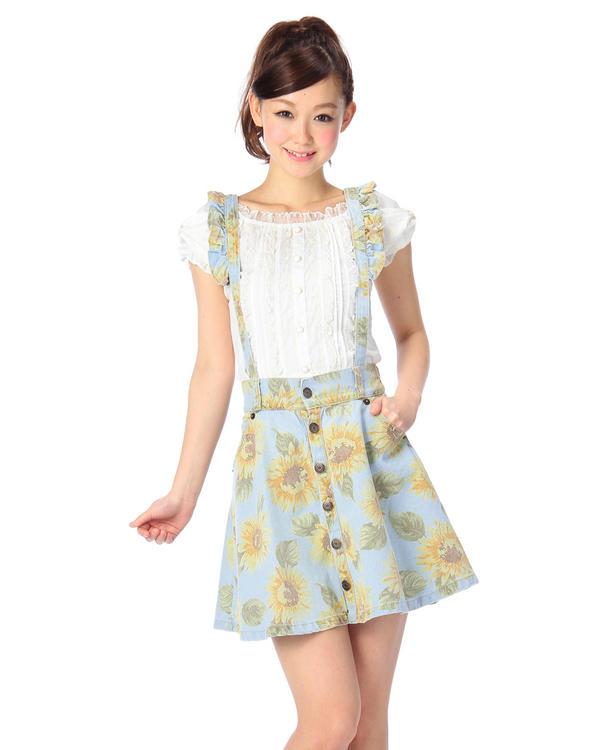 スカート通販〜LIZ LISAブランドの【LIZ LISA】ひまわりフレアスカート