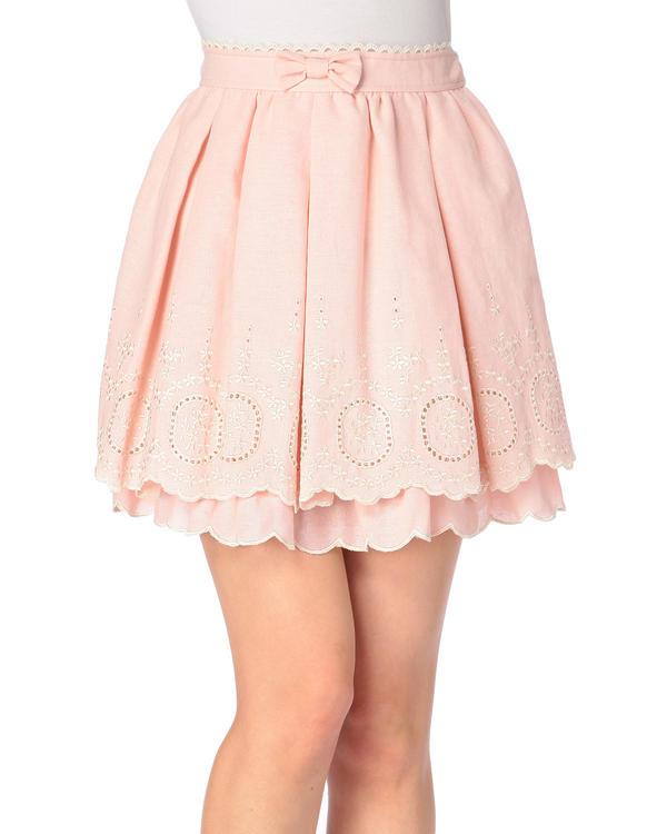 スカート通販〜LIZ LISAブランドの【LIZ LISA】☆WEB LIMITED☆2段スカラップ刺繍スカート