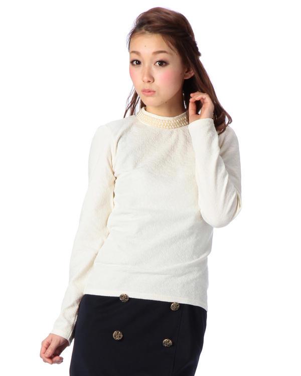シャツ通販〜LIZ LISAブランドの【Tralala】フクレジャガードパールハイネックトップス