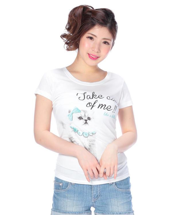 シャツ通販〜LIZ LISAブランドの【Tralala】ネコプリントTシャツ