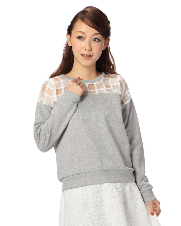 シャツ通販〜LIZ LISAブランドの【Tralala】裏毛×オーガンジープルオーバー