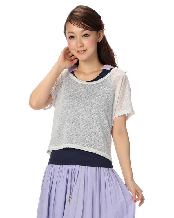 シャツ通販〜LIZ LISAブランドの【Tralala】タンク付き透かしプルオーバー