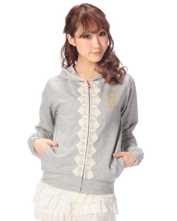 シャツ通販〜LIZ LISAブランドの【Penderie】ミニ裏毛×花柄ジップアップパーカ