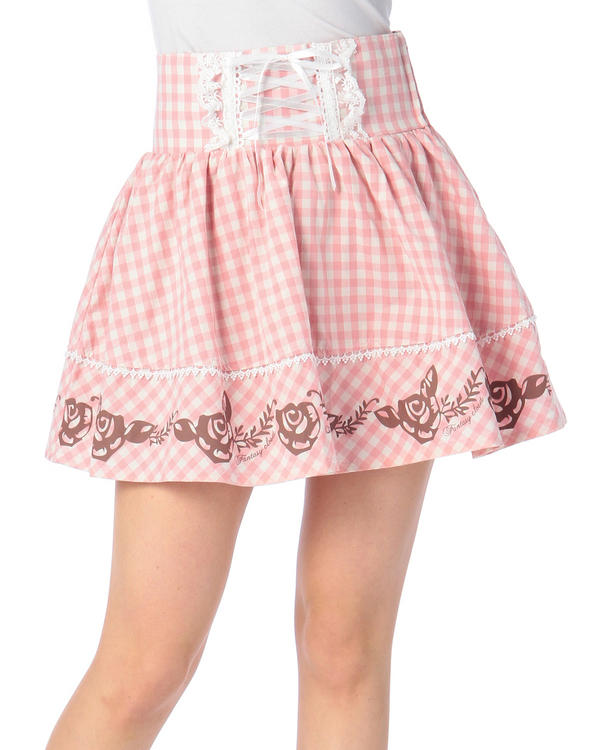 スカート通販〜LIZ LISAブランドの【Penderie】ギンガム×ローズスカート