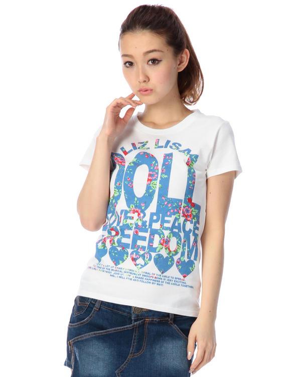 シャツ通販〜LIZ LISAブランドの【LIZ LISA doll】花柄ロゴTシャツ