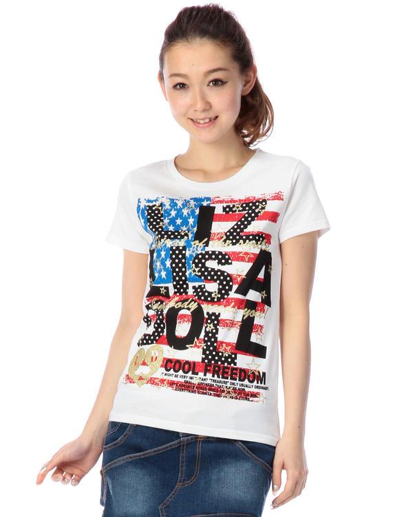 シャツ通販〜LIZ LISAブランドの【LIZ LISA doll】アメリカンロゴTシャツ