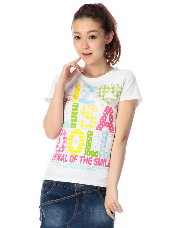 シャツ通販〜LIZ LISAブランドの【LIZ LISA doll】ギンガムロゴTシャツ