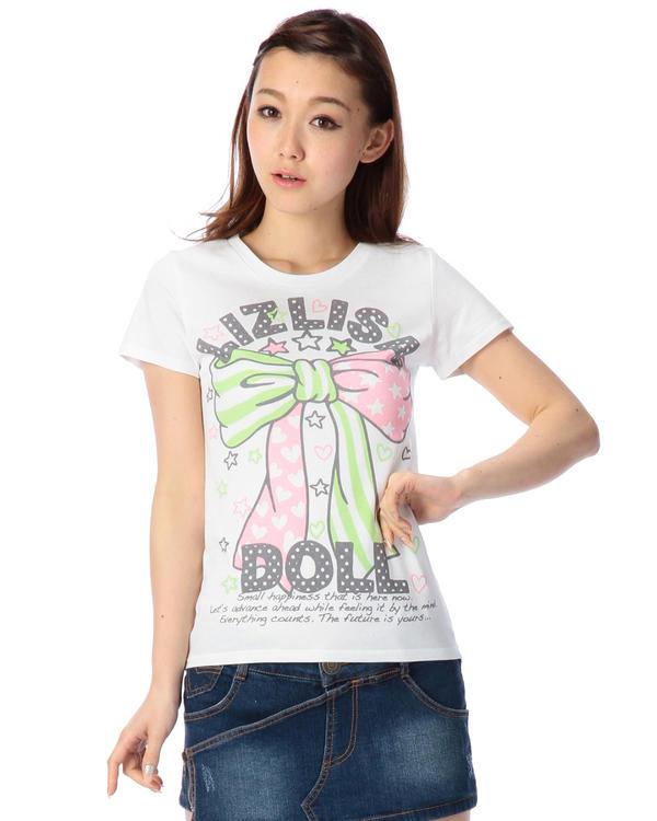 シャツ通販〜LIZ LISAブランドの【LIZ LISA doll】デカリボンTシャツ