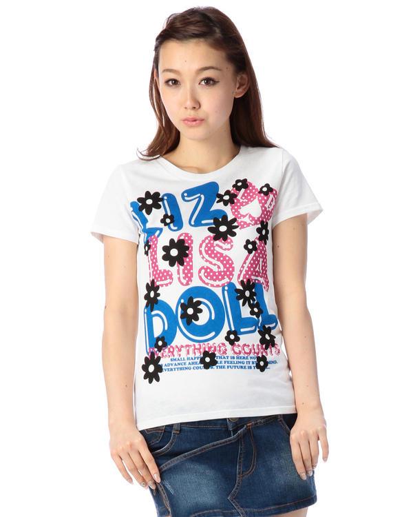 シャツ通販〜LIZ LISAブランドの【LIZ LISA doll】花・ドットロゴTシャツ