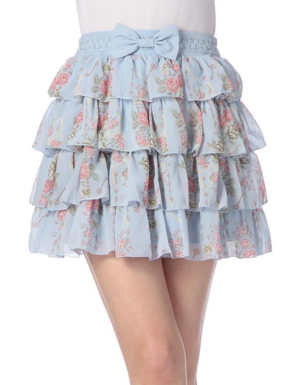 スカート通販〜LIZ LISAブランドの【TRALALA】ハイウエスト4段フリル花柄スカート