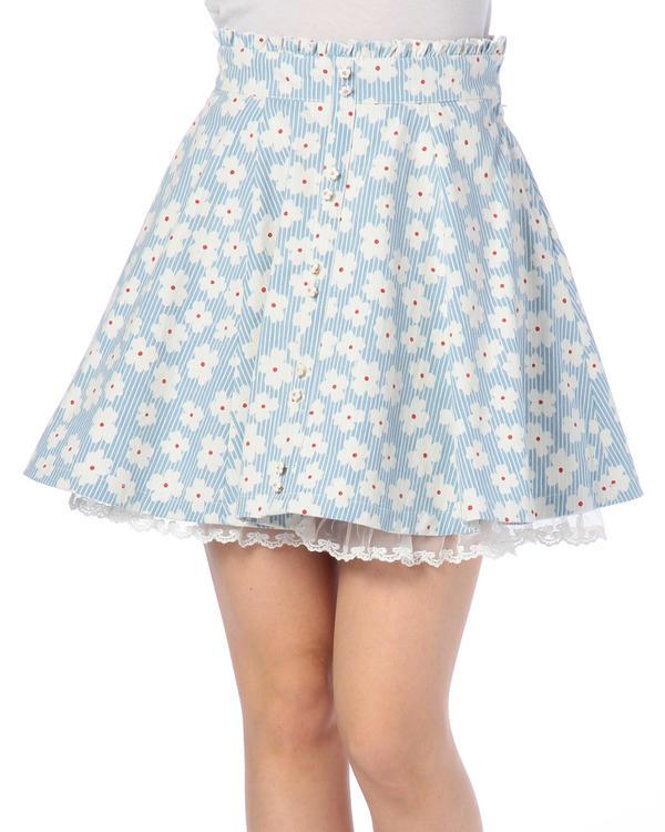 スカート通販〜LIZ LISAブランドの【LIZ LISA】ストライプ×花柄スカート