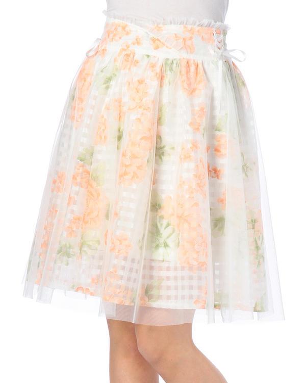 スカート通販〜LIZ LISAブランドの【LIZ LISA】花×チェックひざ丈スカート