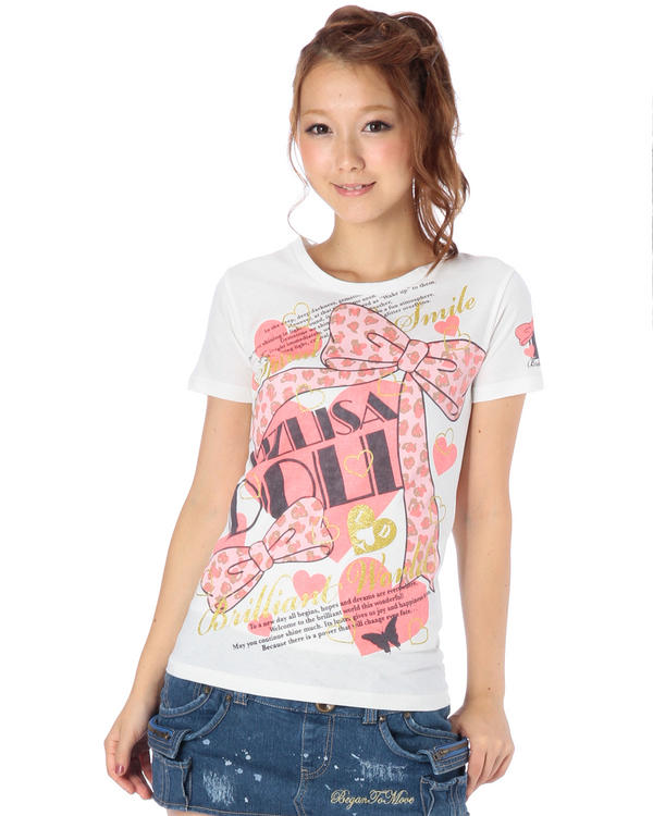 シャツ通販〜LIZ LISAブランドの【LIZ LISA doll】ヒョウ柄リボンTシャツ