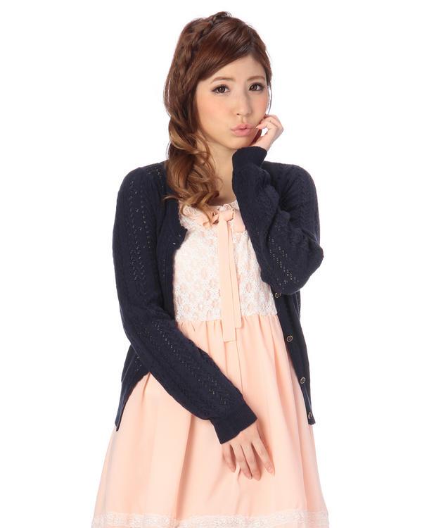 ニット通販〜LIZ LISAブランドの【TRALALA】パターンメッシュカーデ