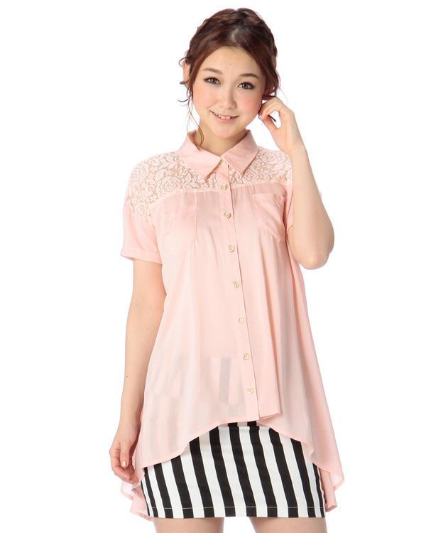 シャツ通販〜LIZ LISAブランドの【TRALALA】バッククロスヘムシャツ