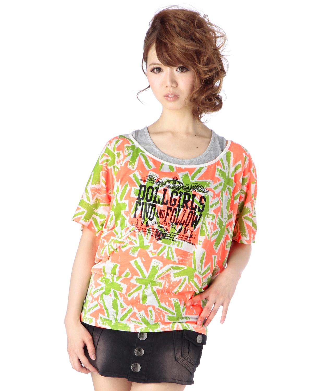 シャツ通販〜LIZ LISAブランドの【LIZ LISA doll】ネオンUJ変形Tシャツ