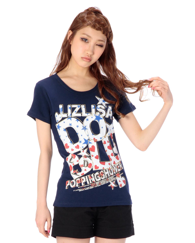 シャツ通販〜LIZ LISAブランドの【LIZ LISA doll】デカ文字スターハートTシャツ