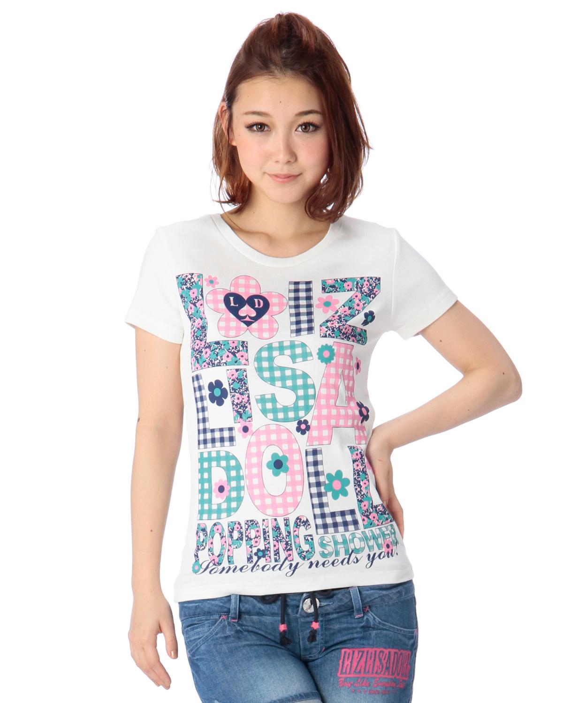 シャツ通販〜LIZ LISAブランドの【LIZ LISA doll】花ギンガムTシャツ