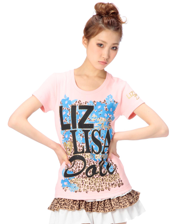 シャツ通販〜LIZ LISAブランドの【LIZ LISA doll】ヒョウx花Tシャツ