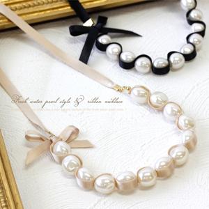 ネックレス通販〜Jewel voxブランドの淡水パール風&リボン ネックレス☆大人可愛いパールネックレス…【ネックレス・パール】