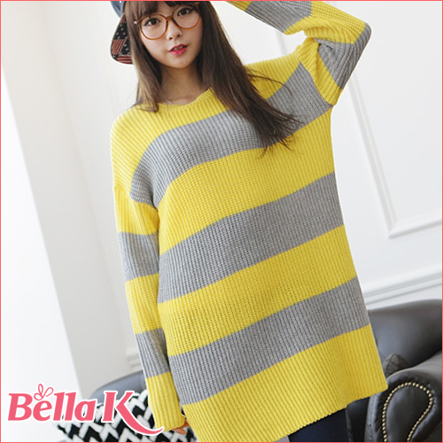 ニット通販〜Bellakブランドの[春夏新作☆]ボーダーニットセーター